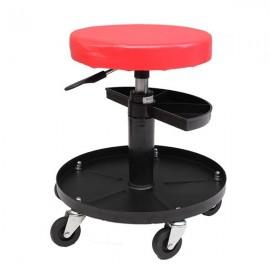Adjustable Tool Rolling Creeper Seat Mechanic's Seat Red & Black